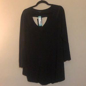 Black Long Sleeve Tee with Cutout Detail